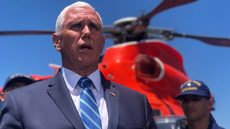Vice President Mike Pence visits with U.S. Coast Guard personnel in San Diego...