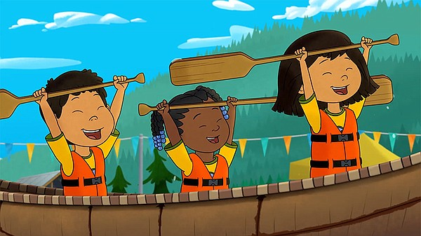 Tooey, Trini and Molly compete in a canoe race on an epis...