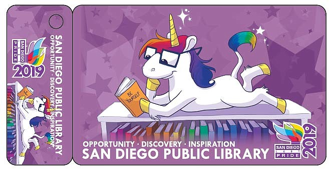 The San Diego Pride themed library card is pictured in this undated image.  ...