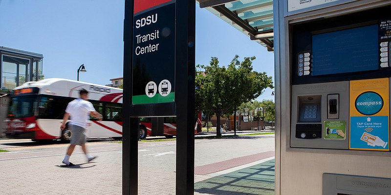 The SDSU Transit Center and one of its fare collection machines is shown on J...