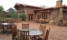 The dining patio at Tres Estrellas, Rancho La P...
