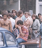 Festival attendees waiting to get provisions from a local market. Bethel, N.Y., Aug. 1969