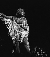 Roger Daltrey from The Who performing on stage at the Woodstock Festival, Bethel, N.Y., Aug. 1969.