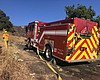 A Cal Fire truck at the Vista Fire on July 17, ...