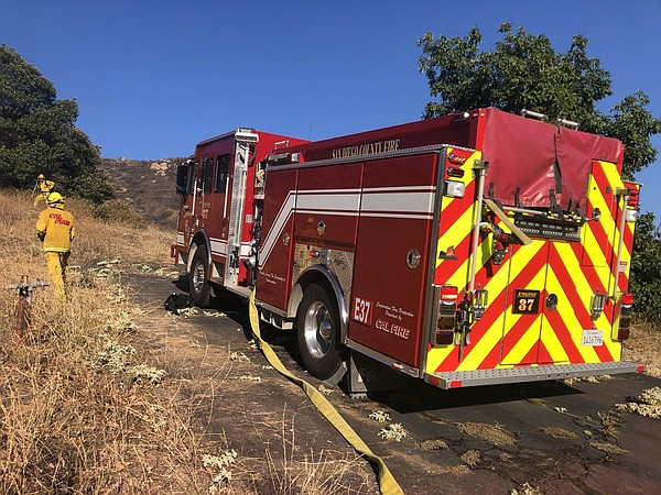 A Cal Fire truck at the Vista Fire on July 17, 2019.