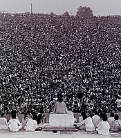Opening ceremony at Woodstock. Swami Satchidananda giving the opening speech, Bethel, N.Y., Aug. 15, 1969.