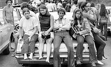 Attendees at Woodstock music festival, Bethel, ...