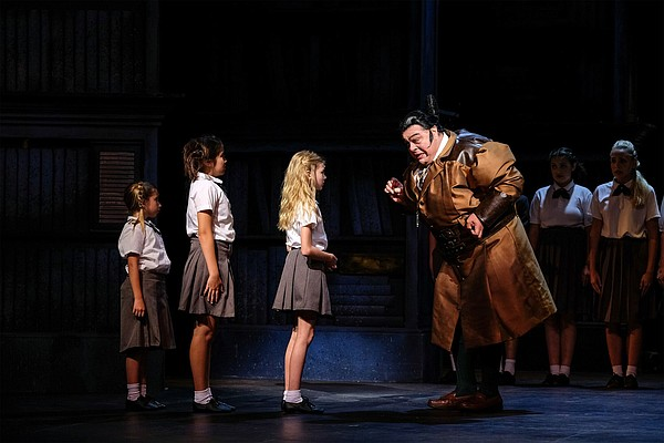 A photo of Randall Hickman (right) and Miss Trunchbull, f...