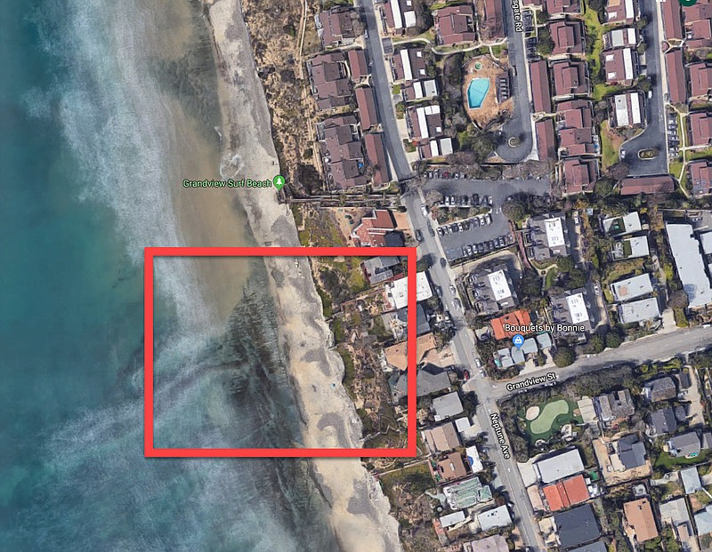 The area of beach in Encinitas where the cliff collapsed is pictured in this ...