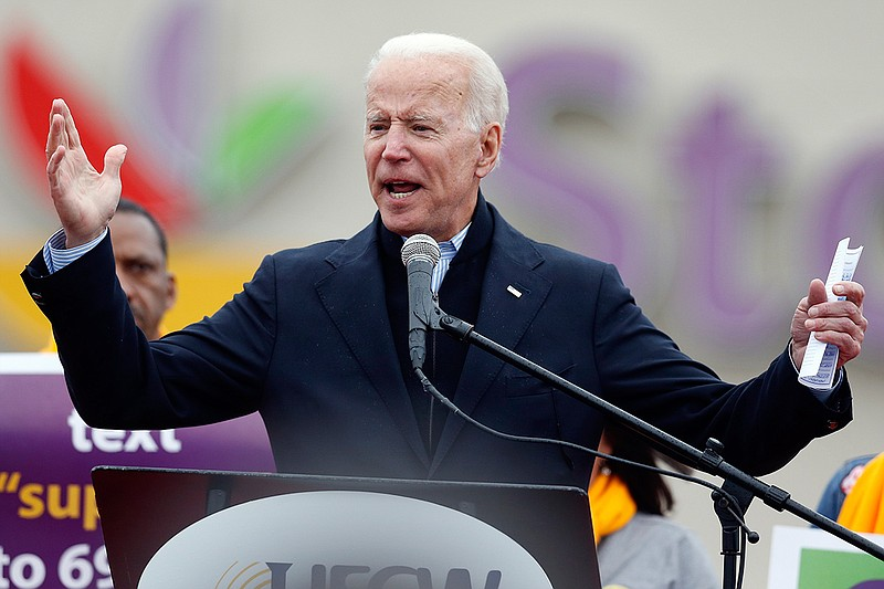 Former vice president Joe Biden speaks at a rally in support of striking Stop...