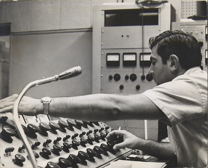 Stan Ross at the mixing board of Gold Star Recording Studios in an undated ph...