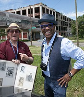 Host Thomas Allen Harris visits the former site of the Packard Plant in Detroit with Arthur Kirsh to share insights from his family photo album.