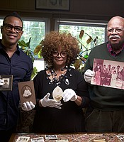 Host Thomas Allen Harris with North Carolina poet laureate Jaki Shelton Green, and her cousin Sterling Michael Holt.