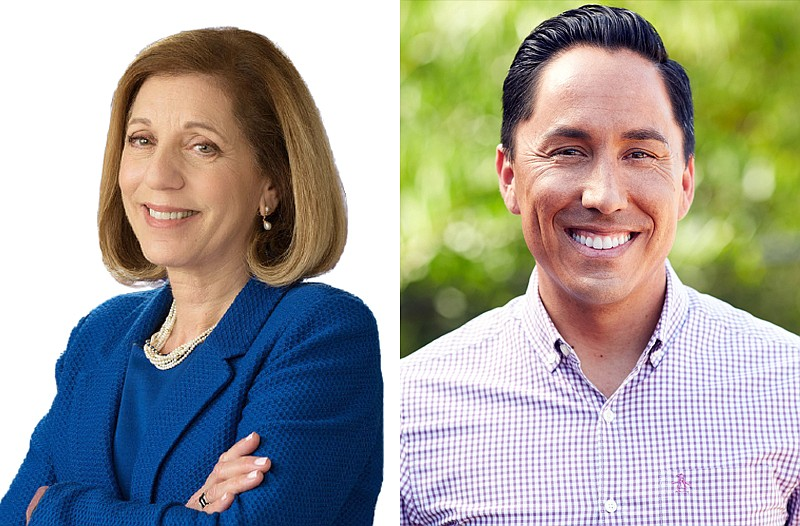 San Diego mayoral candidates Barbara Bry and Todd Gloria are pictured in this...