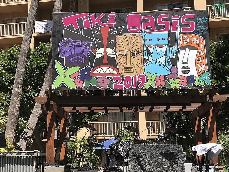 The Tiki Oasis stage is pictured, August 8, 2019.