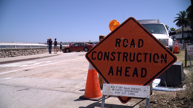 The city of San Diego closed a stretch of Coast Boulevard and Cave Street on ...