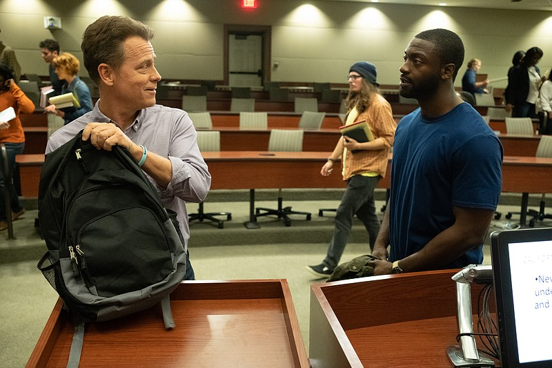 Greg Kinnear (left) stars as Justin Brooks and Aldis Hodge (right) stars as B...