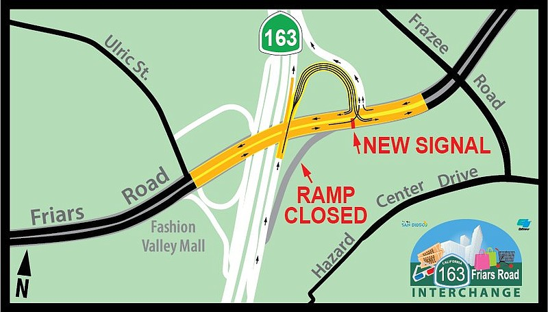 A graphic showing the new signal and on-ramp to Friars Road east from northbo...