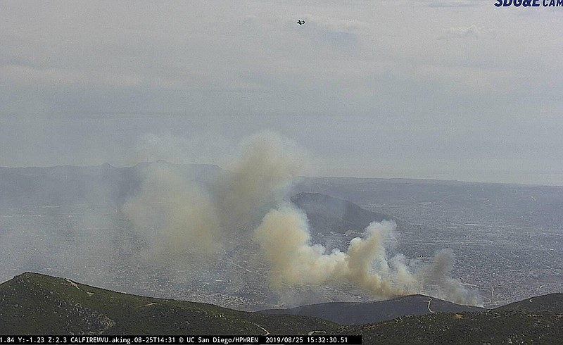Smoke from the Border 10 Fire seen from an SDG&E fire camera on Aug. 23, 2019.