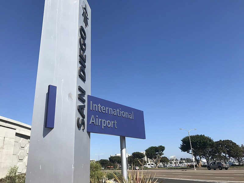 San Diego International Airport sign on Harbor Drive on Aug. 12, 2019
