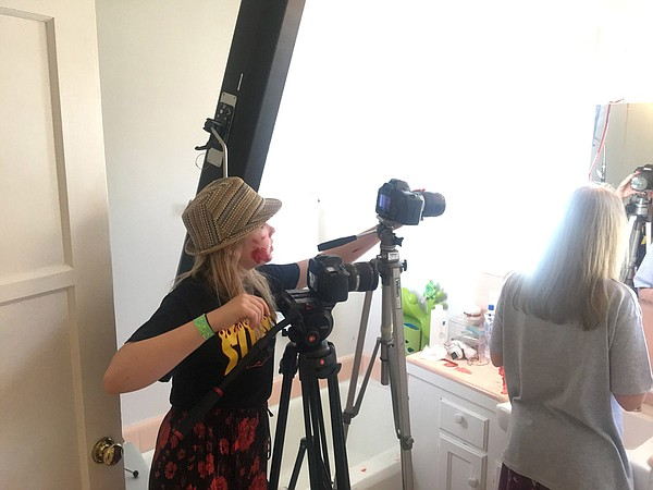 Director Ella McKeon on the set of her film