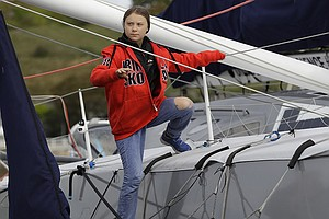 Teen Climate Activist Greta Thunberg Arrives In New York After Sailing The At...