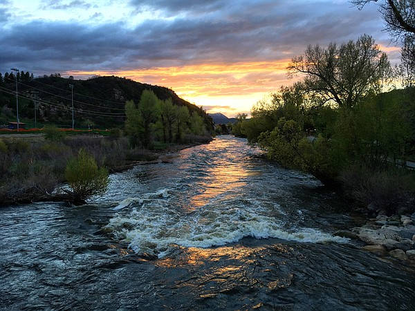 The Yampa River flows through Steamboat Springs, Colorado...