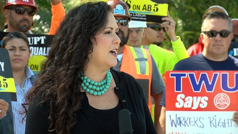 Assemblywoman Lorena Gonzalez rallies workers for the passage of Assembly Bil...