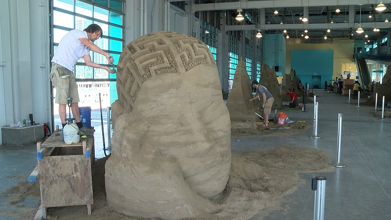 Sand sculptures are shown in the Broadway Pier building on Aug. 30, 2019