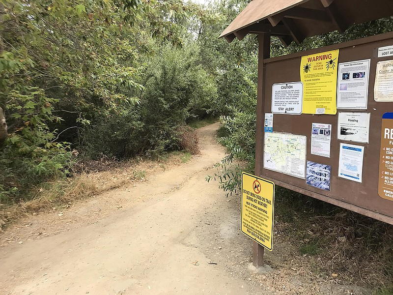 A San Diego County Department of Health Services sign warns hikers of the dan...
