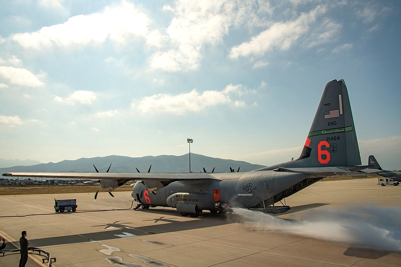 The California Air National Guard C-130J performs fire training at Channel Is...