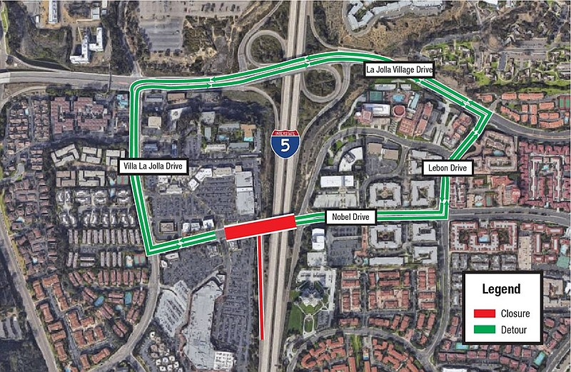 Map of the Nobel Drive closure. The street will be closed Wednesday night, Se...