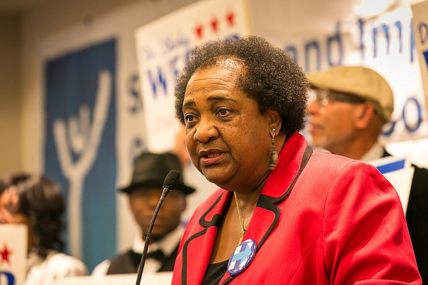 Shirley Weber speaks at the Westin Hotel in downtown San ...