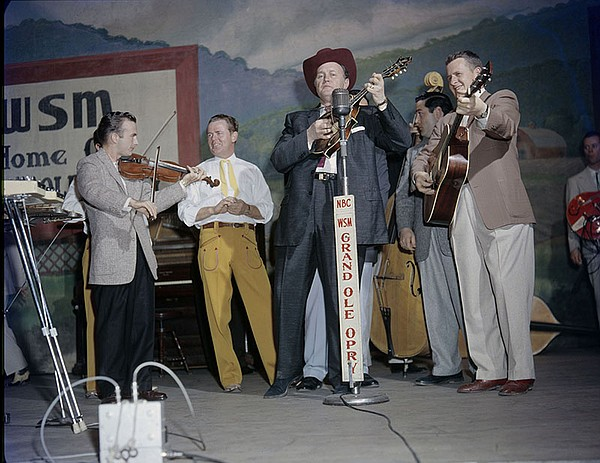 Bill Monroe on the Grand Ole Opry, Nashville, Tenn. c.1958.