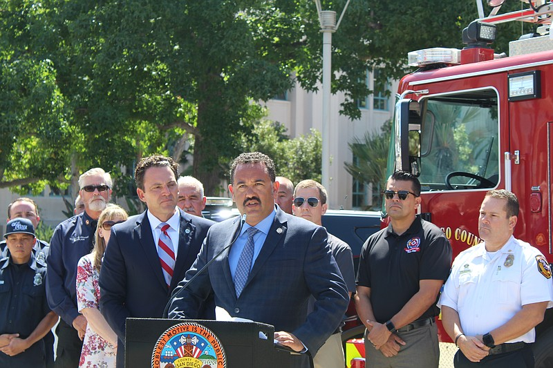 Cal Fire Battalion Chief and Vice President of Local 2881 Patrick Walker appe...