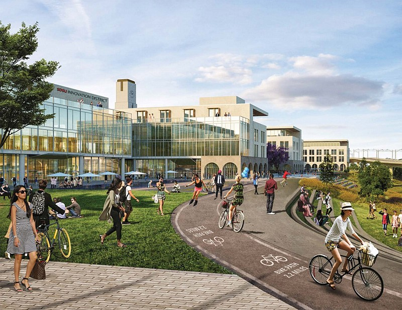 An artist's rendering shows pedestrians and bicyclists on the planned SDSU Mi...