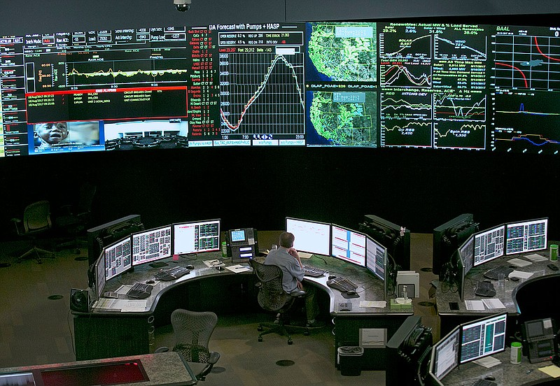 Electrical power flow and conditions are monitored at the California Independ...
