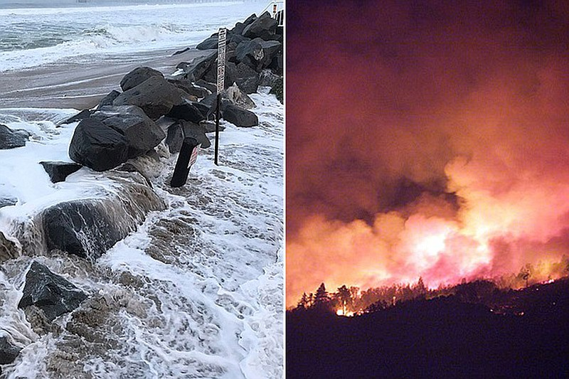 Flooding in Imperial Beach,  Jan. 18, 2019 (left); 2007 Witch Creek Fire (rig...
