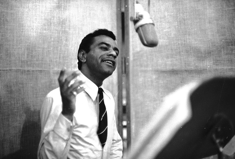 Singer Johnny Mathis is pictured at Columbia Recording Studios in the 1960s.