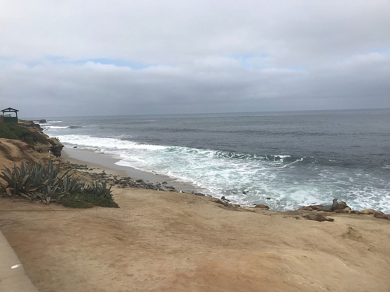 The La Jolla coast is pictured on a cloudy morning, Sept. 25, 2019.