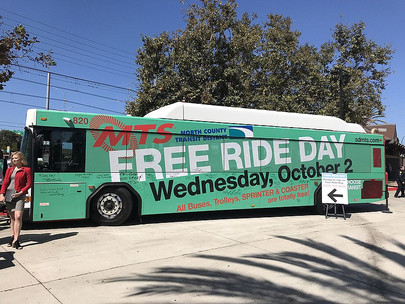 An advertisement for Free Ride Day on Oct. 2 covers an MTS bus, Sept. 30, 2019.