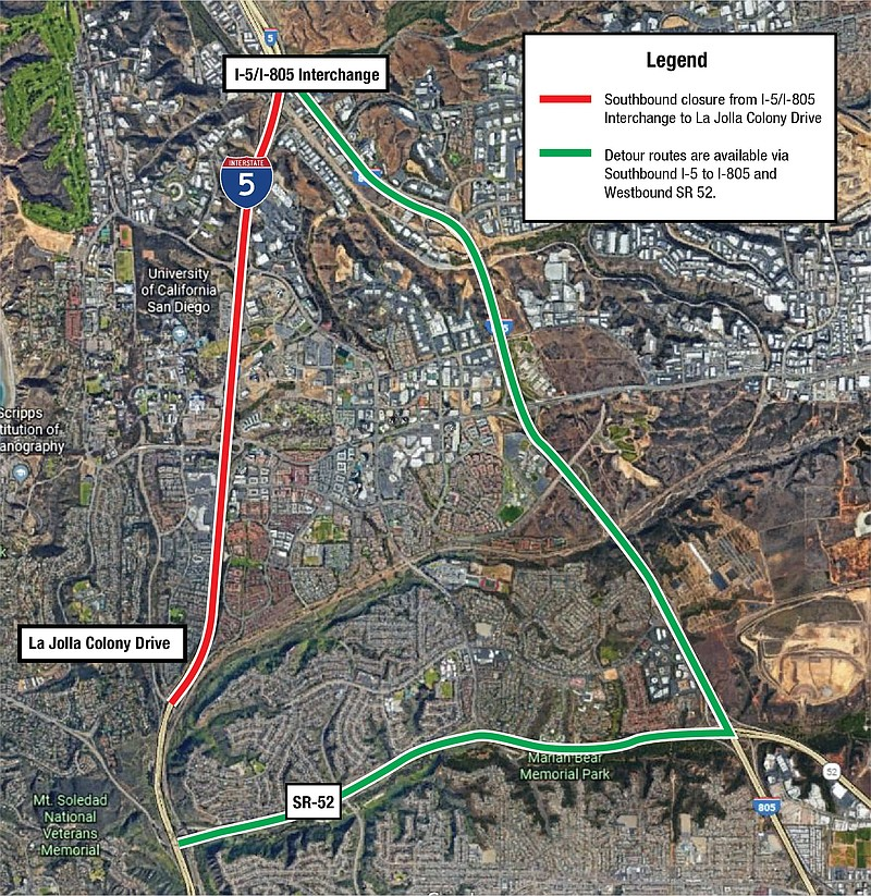 All lanes from southbound Interstate 5 will be closed Wednesday and Thursday ...