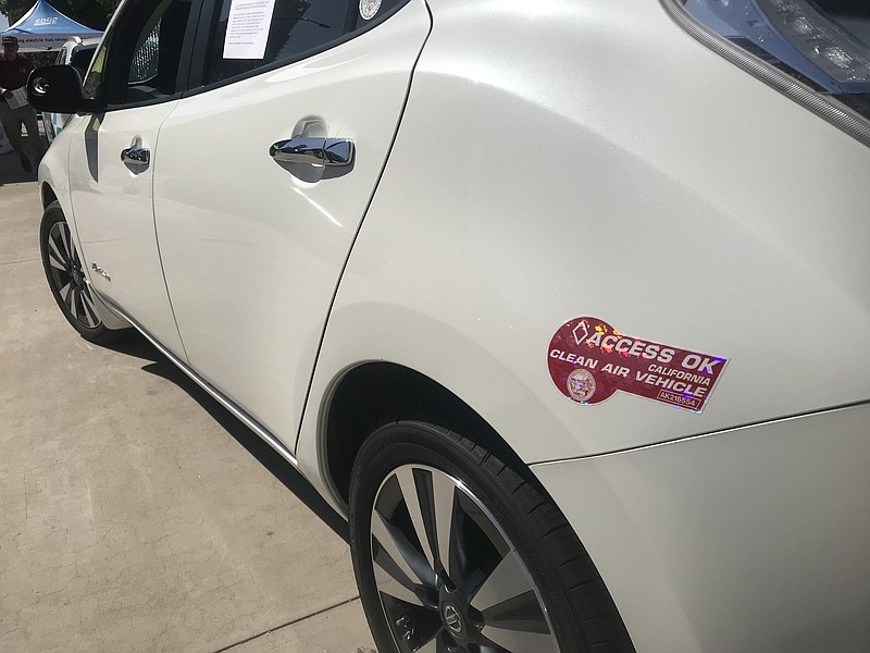 Electric car outside the County Administration Building for a free drive Clea...
