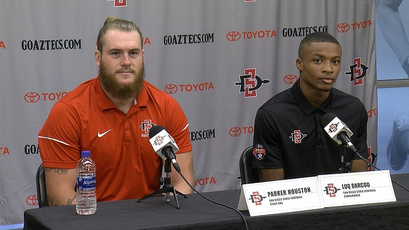 San Diego State football players Parker Houston and Luq Barcoo at a news conf...