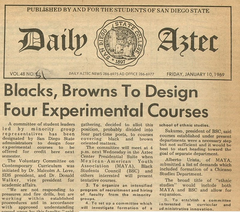 A Daily Aztec article from 1969.