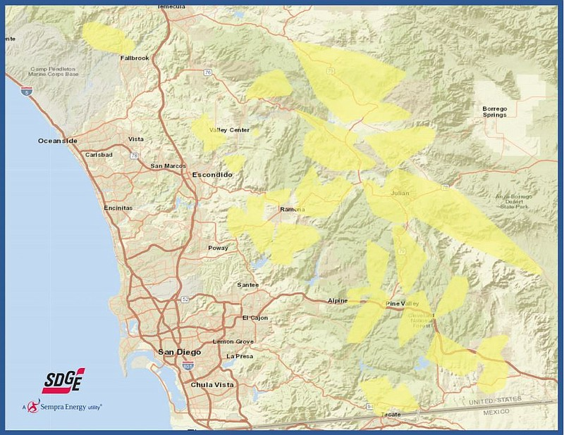 This updated map on Oct. 10, 2019, shows a map of communities in San Diego Co...