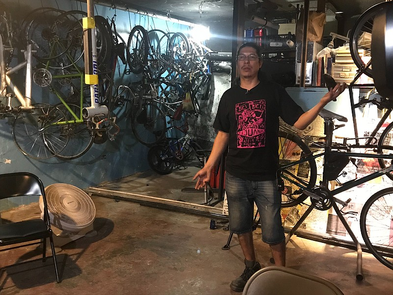 Nacho Muñoz, a mechanic at Bicis Disidentes, on Oct. 11, 2019, talks about th...