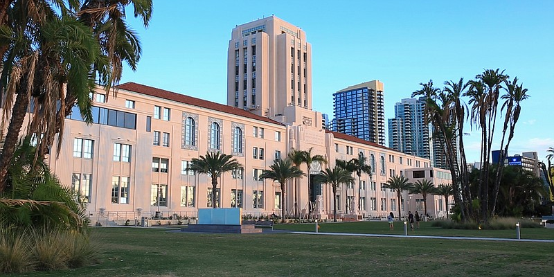 The San Diego County Administration building is shown in this image from Nov....