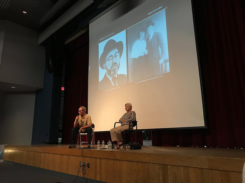 Ben and Rose Schindler speak to students at Ramona High School in this photo ...