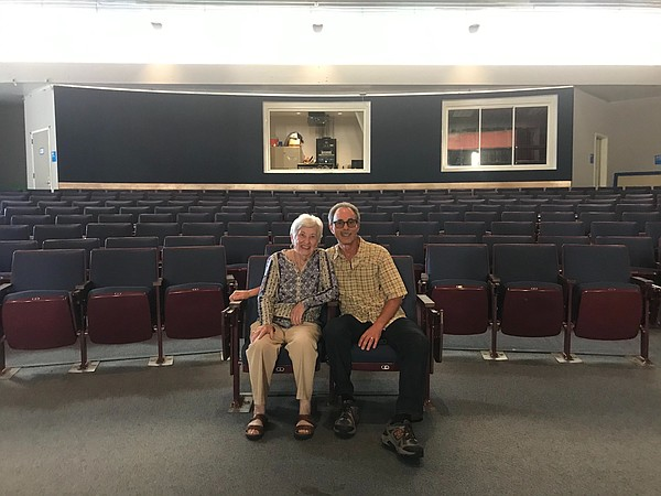 Rose Schindler and her son, Ben Schindler, sit in the aud...